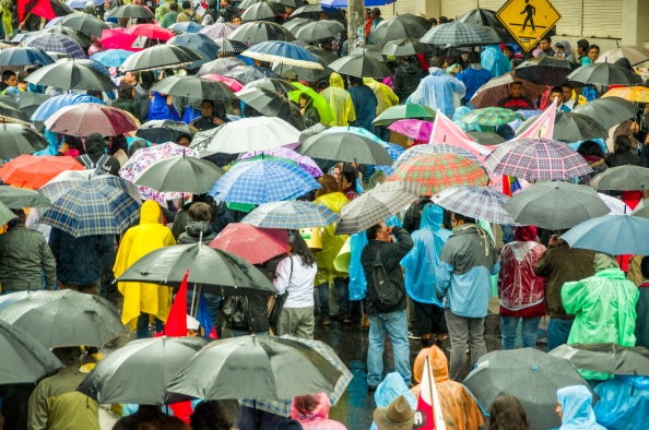 Quito, Ecuador - August 27, 2015: Large crowd and many umbrellas in city streets during demonstrations